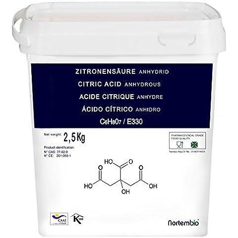Acido Citrico 2,5 Kg, Qualità Farmaceutica & Alimentare, Naturale al 100%, in polvere E330, Decalcificazione Ecologica, NortemBio, Prodotto CE.