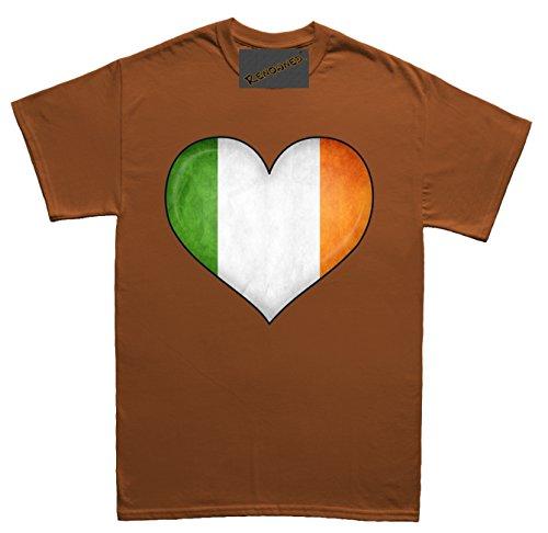 Renowned Irish Flag inside love heart 3D Unisex - Kinder T Shirt Braun