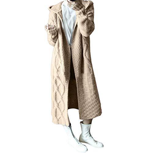 Damen Mantel Langarm Strickjacke Frauen Strickpullover Dicker Strick Cardigan Warme Gestrickte Sweatshirts Herbst und Winter Frauen Hoodies Langer Pullover aus Leinen Tuniken Sweater -
