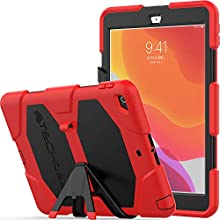 "TECHGEAR G-SHOCK Case Designed for iPad 10.2"" 2020/2019 [8th/7th Generation] Tough Rugged HEAVY DUTY Armour Shockproof Survival Protective Case with Stand - Kids Schools Builders Workman Case RED"