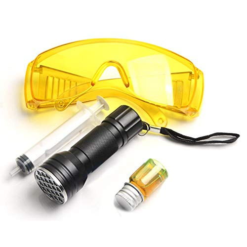 Strumento di rilevamento di perdite fluorescenti per autoveicoli, condizionatore d'aria per di rilevatori di perdite per sistema C in dotazione 21 Set di strumenti di protezione UV per torcia UV LED