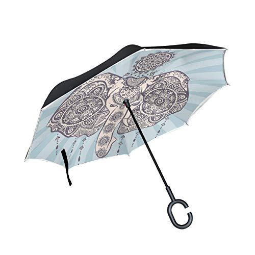 Soloatman - Paraguas de Mandala de Elefante, Resistente al Viento, Impermeable, Doble Capa, Plegable, con protección contra Rayos UV, Paraguas con Mango en Forma de C para Uso en la Lluvia del Coche