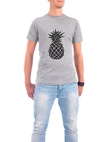 Design T-Shirt Männer Continental Cotton 'Marble Pineapple' in Grau Größe S - stylisches Shirt...