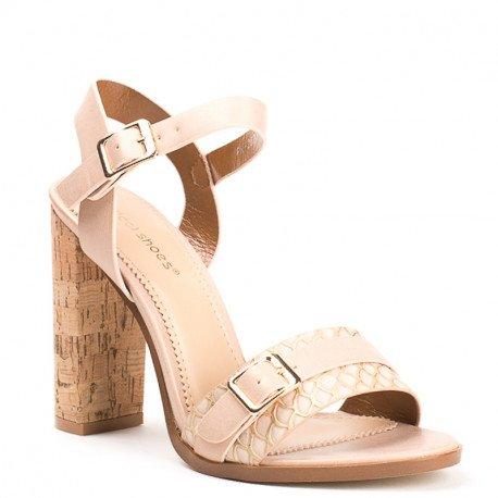 Ideal Shoes - Sandales en similicuir à talon carré Laima Beige