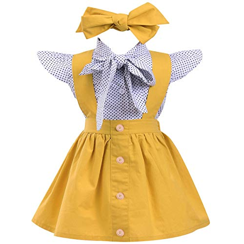 Baby Mädchen Strampler Polka Dot Fly Sleeve Top + Strap Rock Kleid + Bowknot Stirnband Kleinkind Sommer Kleidung Set (Baby Mädchen Polka Dot Stirnband)
