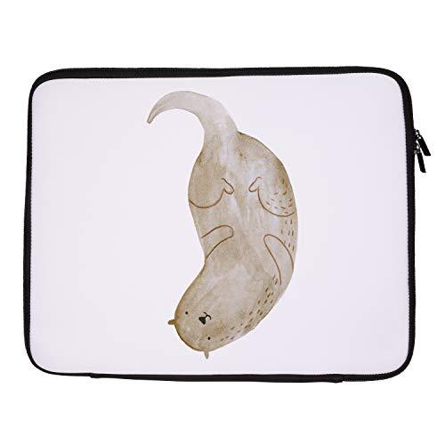 Otter-laptop-tasche (Mr. & Mrs. Panda Tasche, Laptop, 33 x 42 Notebook Tasche Otter kopfüber - Farbe Weiß)