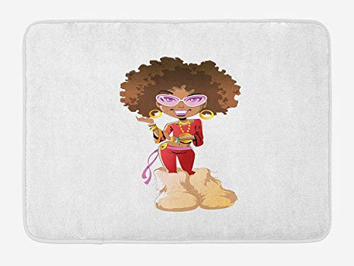Black Woman Bath Mat, Seventies Inspired Woman of Color with Flamboyant Outfit Earrings, Plush Bathroom Decor Mat with Non Slip Backing, 23.6 W X 15.7 W Inches, Beige Red Pale Brown