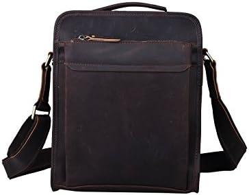 Tiding de los hombres piel genuina Mensajero crossbody Vertical Organizador Ocio Bolsillo iPad Bolsa de hombro bolsa de mano marrón oscuro