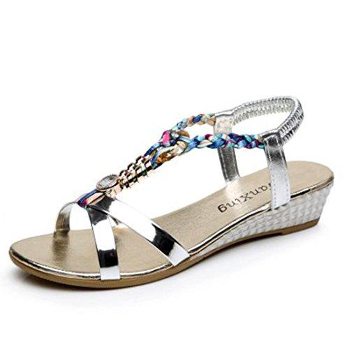 Familizo Familizo Femmes été Strass Sandales,Chaussures de Plage Confortables (38 EU, Argent)