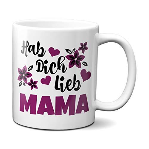 Hab Dich lieb Mama - Tasse mit lila Blüten - Kaffeetasse - Tasse mit Spruch