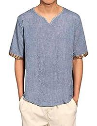 ALIKEEY Camisas De Lino Tradicionales para Hombres Manga Corta con Cuello En V Casual Blusa Suelta Camisetas Sueltas Cool Juego Top…