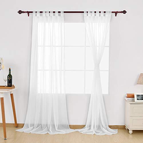 Deconovo Vorhang Transparent Gardinen Wohnzimmer Voile Vorhang Schlaufenschal 245x140 cm Weiß 2er Set