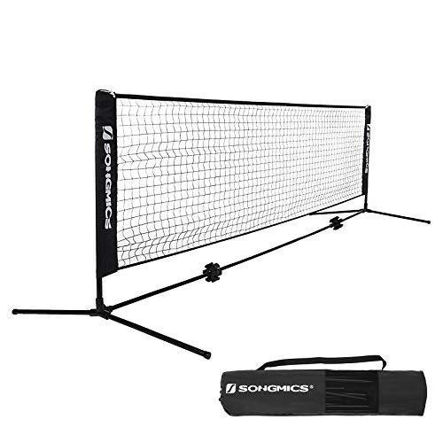 SONGMICS Tennisnetz 4 m Badmintonnetz Höhenverstellbar Federballnetz Mit Ständer SYQ400H