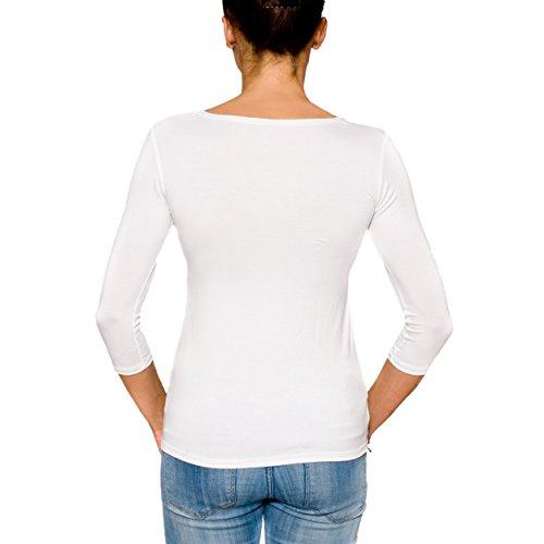 Alkato Damen Shirt 3/4 Arm Rundhalssusschnitt Stretch Weiß