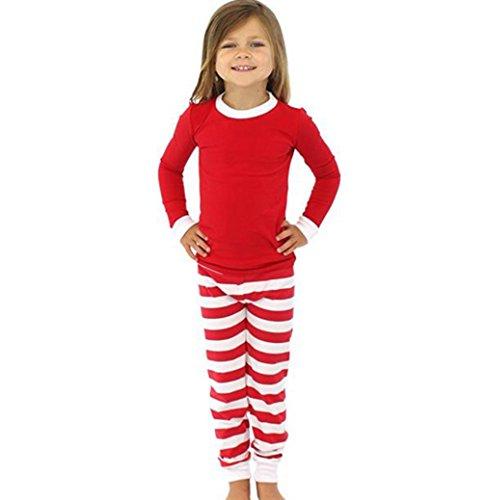 CeRui Natale Famiglia Biancheria Da Notte Set Pigiama A Righe Di Cotone Outfit Bambini RossoBianco