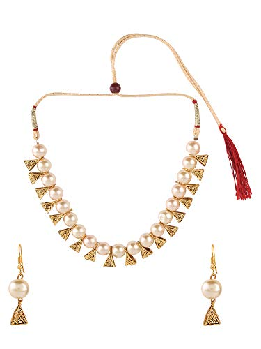 Archi Collection Boho Vintage Oxidized Gold Plated Fashion White Pearl Choker Necklace Earring Jewellery Set for Women Girls