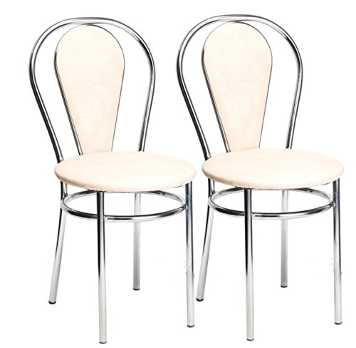 BSD Esszimmerstuhl Stilvoll Gemütlich Küchenstuhl - Tulipan Plus - Farbe: Vanille - 2er Set -
