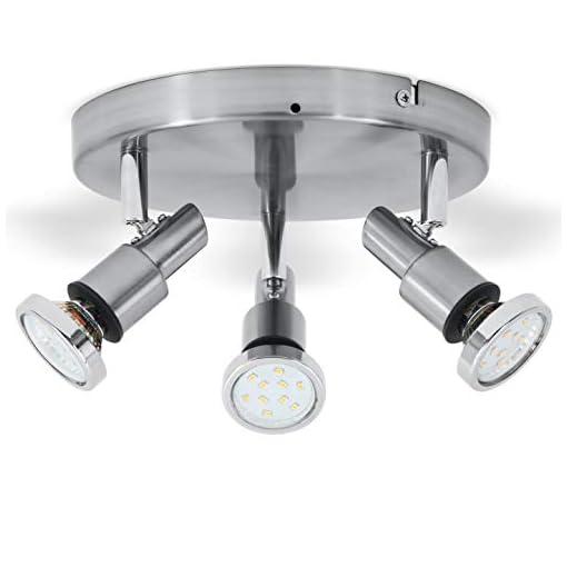 Plafoniera LED da soffitto con faretti orientabili, lampadario bagno resistente agli schizzi d'acqua IP44, include 3 lampadine GU10 5W, metallo color nickel opaco, faretti LED luce calda 3000K, 230V
