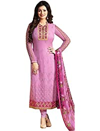 Clothfab Women's Georgette Embroidered Work Designer Party Wear Chudidar Salwar Suit Dress Material With Dupatta