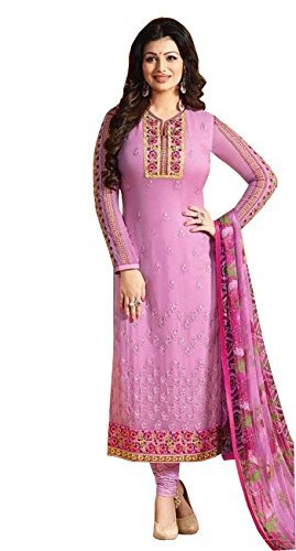 Fkart Women's Georgette pink Embroidered Long Semi-Stitched party wear Salwar with dupatta...