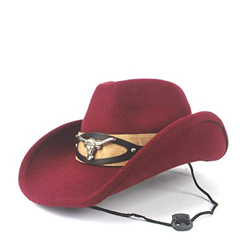 Peng sounded Frauen Männer Elegante Wolle Western Cowboy Cow Head Winter Cowgril Hut Filz Fedora Hut Fedora Hut (Farbe : Deep red, Größe : 56-59cm)