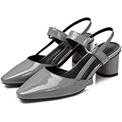 GLTER Damen Slingback Mid Heel Sandalen Closed-Toe Pumps Damen Leder Schuhe Baotou Shallow Mund Schuhe Spitz Dick Schuhe Slip-On Pumps Grau Weiß , grey , 38