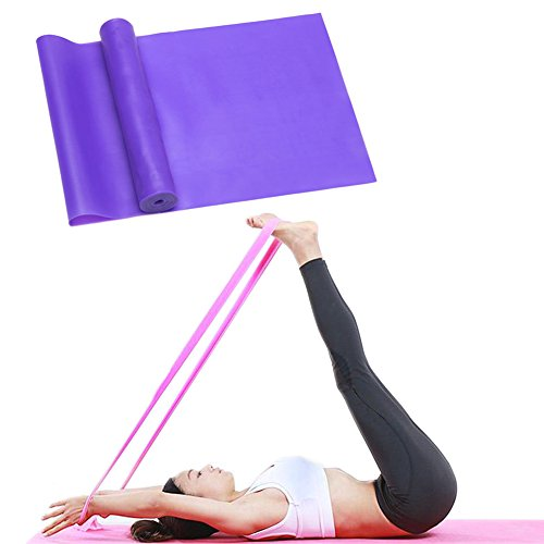 LITOON Gymnastikband Widerstand Bands Stretch Bands Yoga Fitness Tension Gürtel Workout Bands, Widerstand Training Frauen Herren 1,5 m, Violett -
