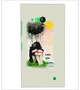 PrintDhaba Miss You Girl D-5895 Back Case Cover for NOKIA LUMIA 730 (Multi-Coloured)