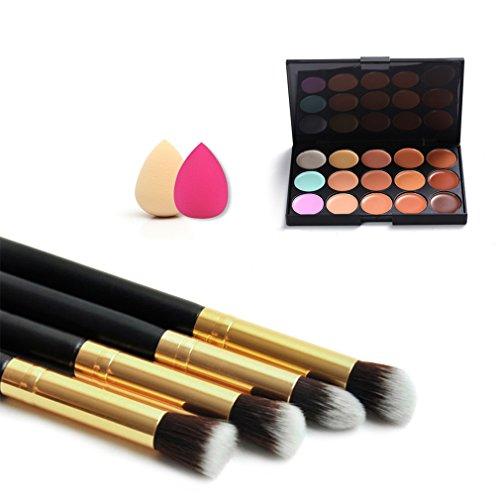 Kapmore Palette de Correcteur Contour Maquillage pour le Visage 15 Couleurs Palette de Poudre avec Pinceaux éponge