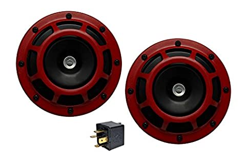 Velocity DUAL Super Tone LOUD Blast 139Db Universal Euro RED ROUND HORNS (Quantity 2) High / Low Tone Twin Horn Kit Pair Compact - Extremely LOUD for Nissan Datsun Fairlady Z Frontier Titan Murano