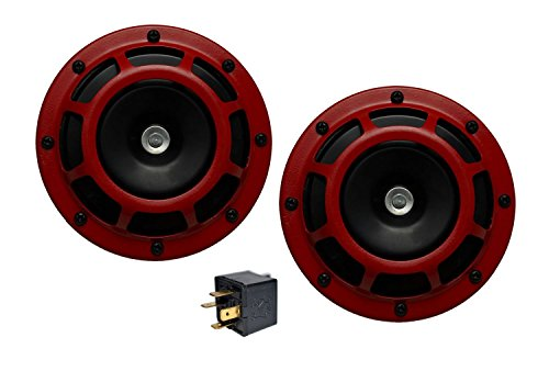 Velocity DUAL Super Tone LOUD Blast 139Db Universal Euro RED ROUND HORNS (Quantity 2) High / Low Tone Twin Horn Kit Pair Compact - Extremely LOUD for Scion xB tC FR-S xA xD RS