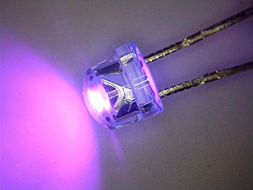 100 pezzi LED 5 millimetri ultravioletta UV cappello di paglia, testa corta, Flathead 110 ° 390 nm