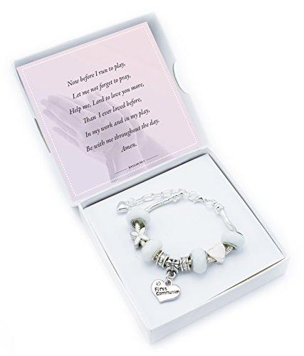 'Pure White' Erstkommunion Charm Armband mit Gedicht, Geschenk Karte und Geschenk-Box