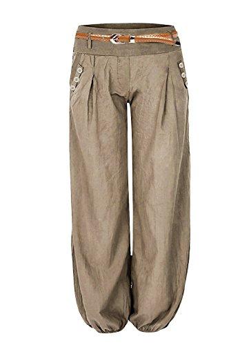 Haremshose Damen Pumphose Aladinhose Pluderhose mit Gürtel Braun XL