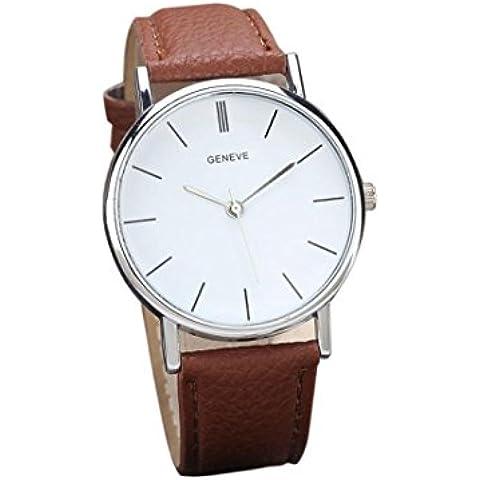 Amsion Nueva Mujeres retro sencillo diseño cuero banda reloj aleación de cuarzo reloj de pulsera