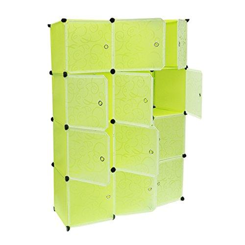 ICOCO 12 Boxen Kleiderschrank Organizer Garderobenschrank Steckregalsystem mit Türen Regal Garderobe Schrank Steckregal Regalsystem 140 x 105 x 35cm Fruchtgrün (Tür Box)