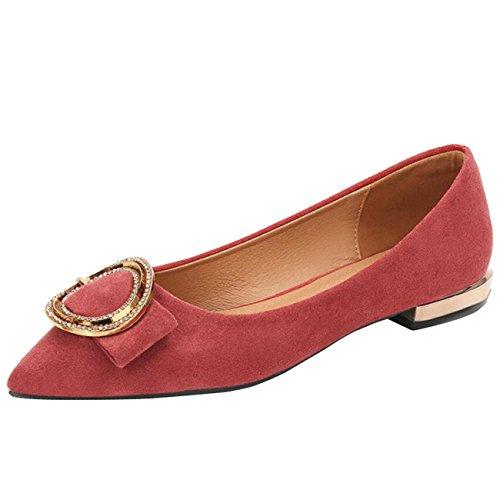 Mashiaoyi Donna Pointed-Toe Piatto Senza Chiusura Metallo Ballerine Rosso