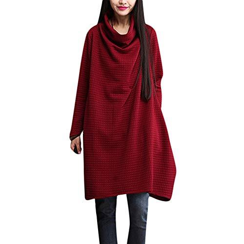 damen Große Größe Lässiger Rock Rollkragen Tasche Lose Kleidung Pullover Kleid YunYoud A-Linie...