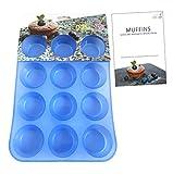 Kitchen Helpis 12er Silikon Muffinform Muffinblech BPA freie, antihaftbeschichtete Muffin Form | incl. Rezepte E-Book, Cupcakes, Muffins