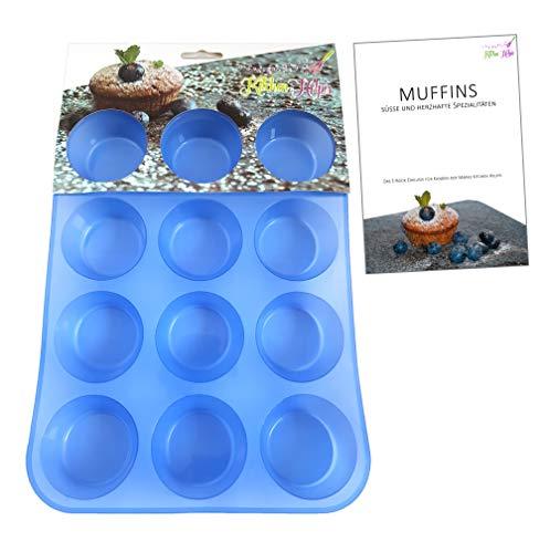 Kitchen Helpis 12er Silikon Muffinform Muffinblech BPA freie, antihaftbeschichtete Muffin Form   incl. Rezepte E-Book, Cupcakes, Muffins