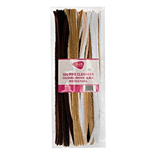 edukit Pack of 120 Pipe cleaners - in brown, black, white & flesh colours, Assortment of Craft Multi-Purpose Wire Pipe Cleaners 28cm x 6mm.