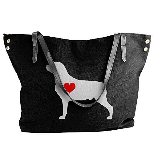 sghshsgh Umhängetaschen,Damenhandtaschen, Women's Rottweiler With Heart-1 Canvas Shoulder Bag Handbags Tote Bag Casual Travel Bags (Rottweiler Geldbörse)