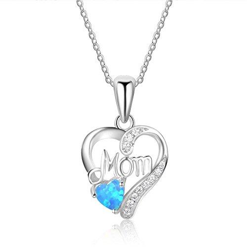Haixin Pur amour maman double coeur pendentif antiallergique Collier pendentif en argent (chaîne peut s'ajuster)