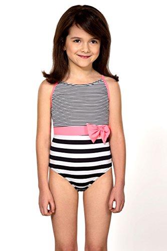 LORIN Mädchen Badeanzug OneSize Gr. 9-10 Jahre 146 cm, schwarz/weiß