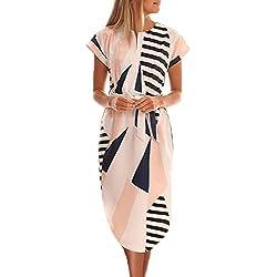 Ajpguot Vestido de Verano Mujer Impresión Midi Vestidos de Playa Elegante Largo Vestido de Fiesta V-Cuello Manga Corta Vestido con Cinturón (S, 0894 Beige)