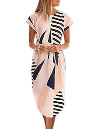 70f4cb1da54b Ajpguot Donna Scollo V Corta Abito a Manica Corta Estivo Bohemian Vestiti a  Stampa Fiore Elegante Vestito da Spiaggia Partito Midi Abiti con…