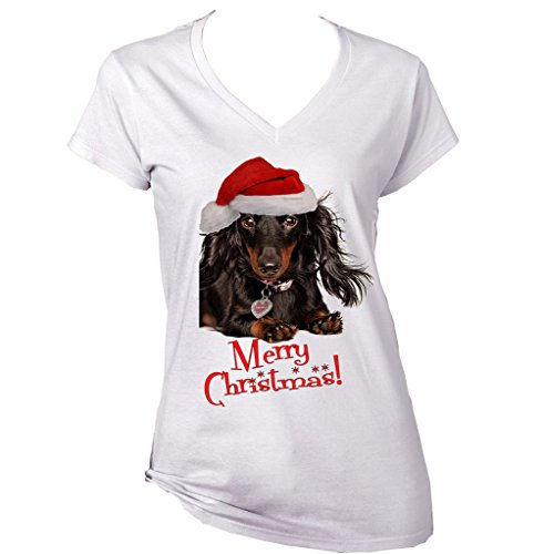 teesquare1st Women's Merry Christmas Dachshund Black Long Hair WW White T-Shirt Size Large