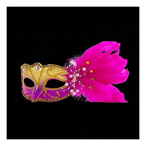 erade-Masken-Korn-Feder-Dekorations-Halbe Gesichtsmaske Für Maskerade-Kleid, Rosen-Rot ()