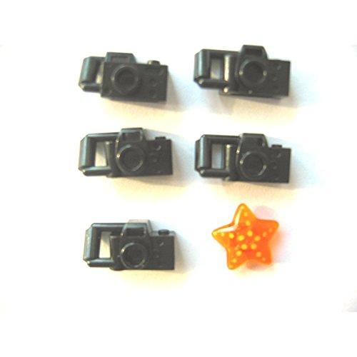 LEGO CITY - 5x KAMERA - FOTOAPPERAT + 1 orange Muschel für Minifiguren -
