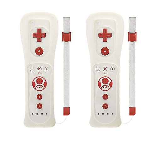 Wii Fernbedienung, Motion Plus Controller für Nintendo Wii und Wii U und Nunchuk Controller mit Silikonhülle und Handgelenkschlaufe White 2 Pack -